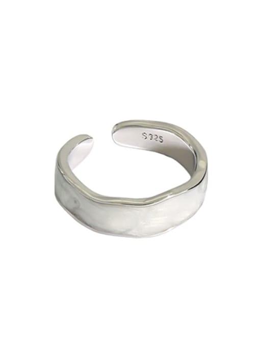 Platinum [white gutta percha] 925 Sterling Silver Enamel Round Vintage Band Ring